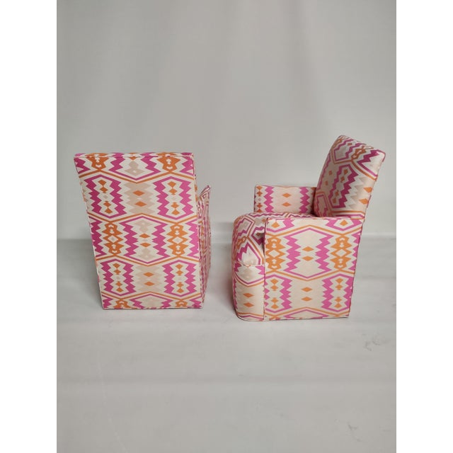 Bright Pink 1920s Bright Geometric Arm Chairs - a Pair For Sale - Image 8 of 11
