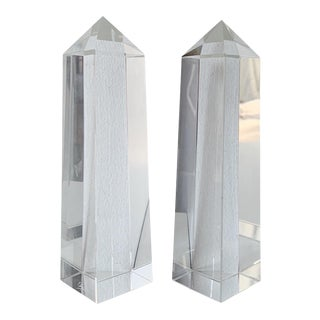 1980s Vintage Oleg Cassini Crystal Obelisks - a Pair For Sale