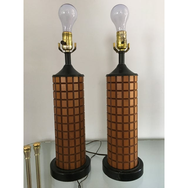 Mid-Century Wood Table Lamps - A Pair - Image 2 of 3