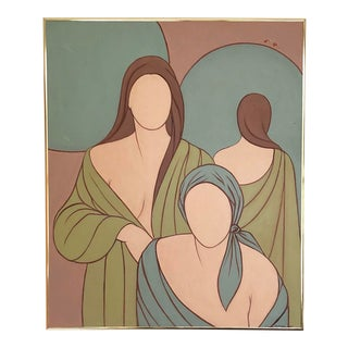 Figurative Color Block Painting of Draped Women For Sale
