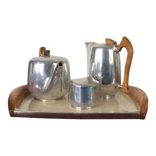 Englizh Mid-Century Modern Picquot Ware Coffee Tea Set - 4 PC.