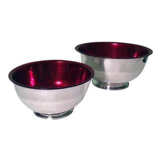 Silverplate Paul Revere Bowls with Red Liners - A Pair