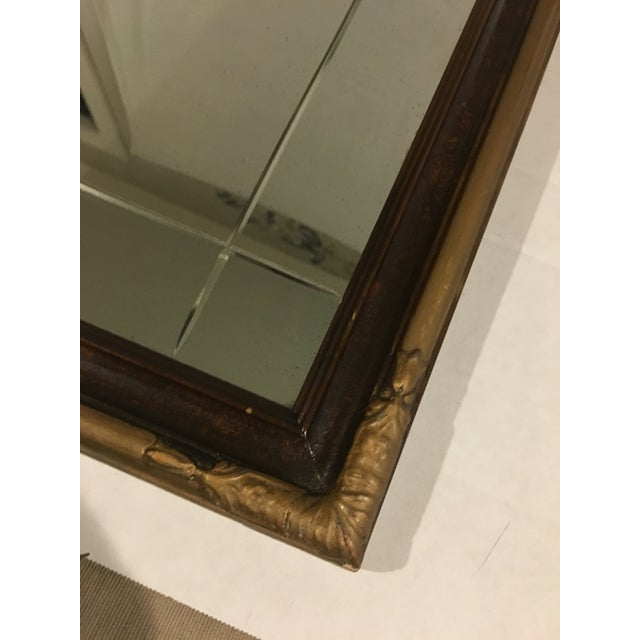 Vintage Art Deco Etched Glass Mirror With Gilded Edge Frame For Sale - Image 4 of 6