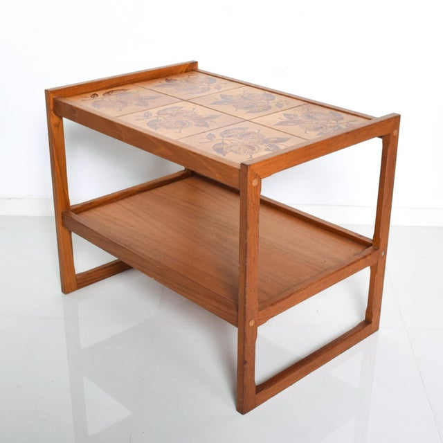 Mid-Century Danish Modern Teak and Tiles Service Table Bakery Bar Trolley For Sale - Image 12 of 12