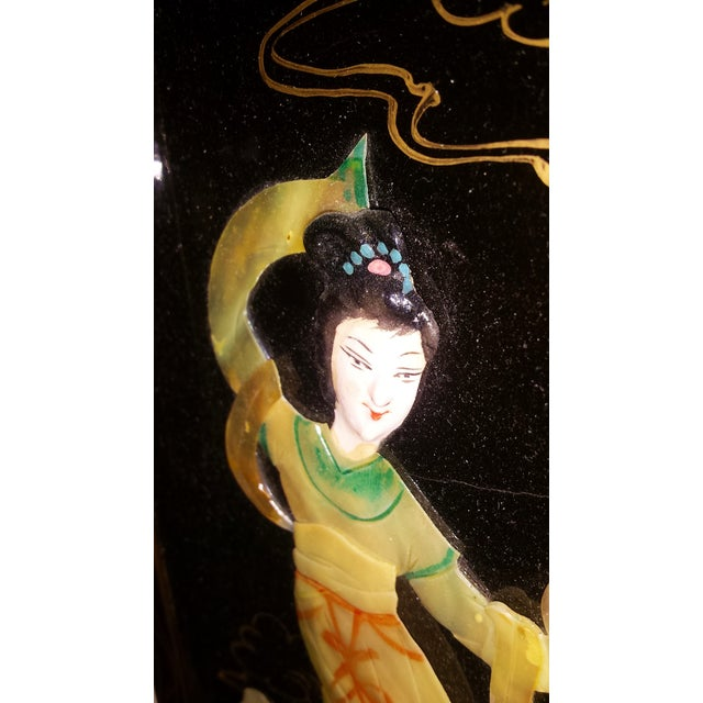 Chinese Courtesan Table Screen Black Lacquer - Image 7 of 9