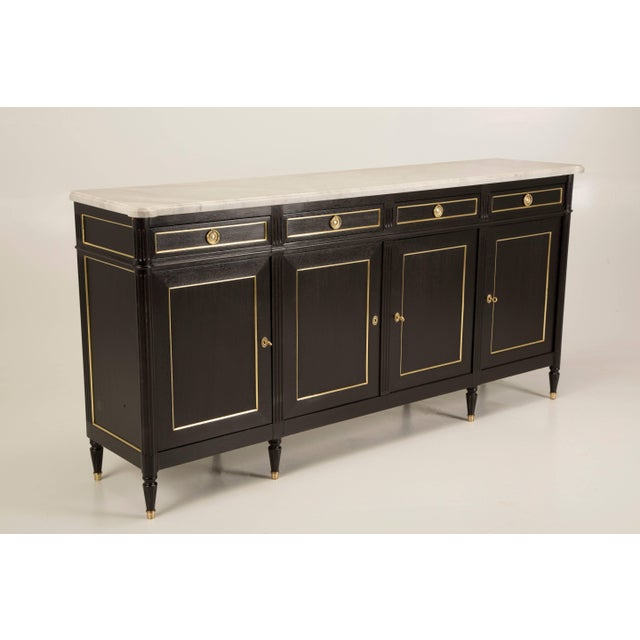 White French Louis XVI Style Buffet in an Ebonized Finish With a White Marble Top For Sale - Image 8 of 10