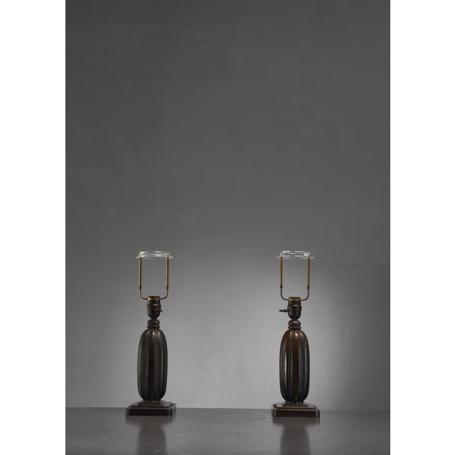 Mid-Century Modern Pair Just Andersen metal table lamps, Denmark, 1930s For Sale - Image 3 of 4