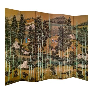 Large Chinese Painted Screen With Bamboo Forest For Sale