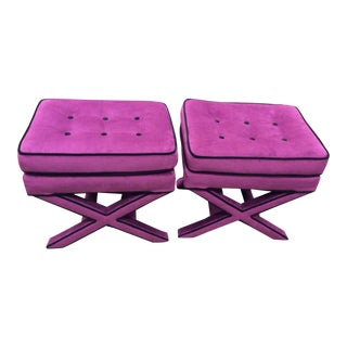 Purple Suede Cross Base Tufted Ottomans - A Pair For Sale