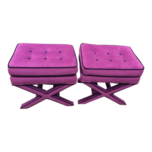 Pleasing Purple Suede Cross Base Tufted Ottomans A Pair Ncnpc Chair Design For Home Ncnpcorg