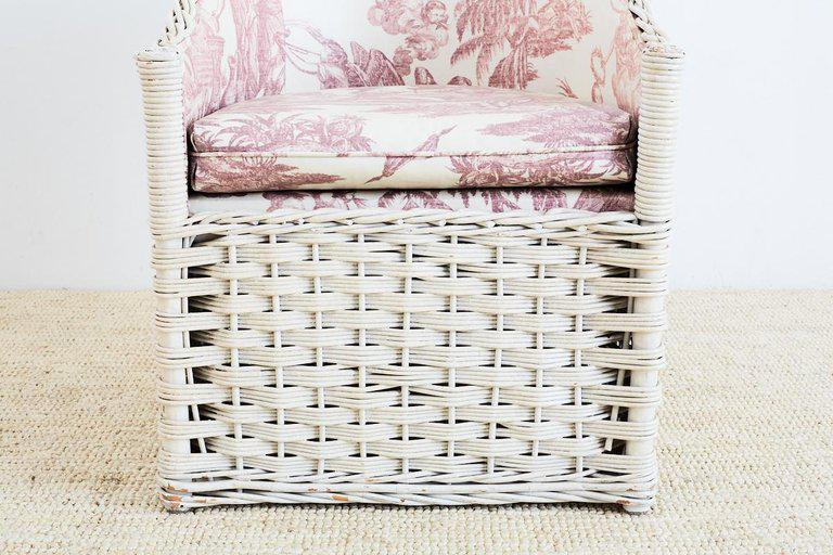 Set Of Six Painted Rattan And Wicker Garden Chairs For Sale   Image 4 Of 13