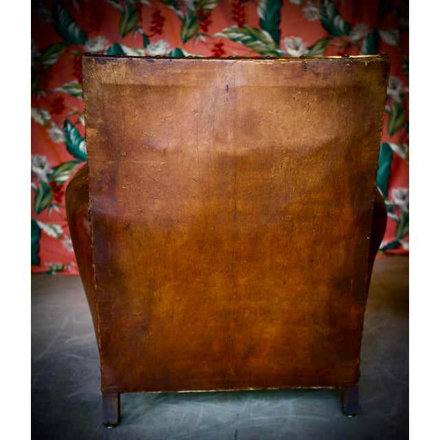 1930s 1930s French Leather and Cloth Seat Club Chair For Sale - Image 5 of 8