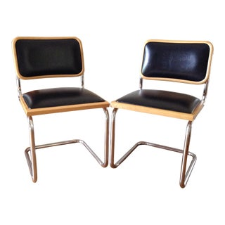 Vintage Mid Century Modern Wood and Chrome Chairs- A Pair For Sale
