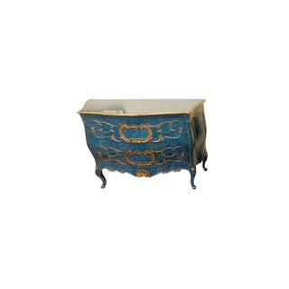 Single Royal Blue and Parcel-Gilt Decorated Bombay Commode or Chest For Sale
