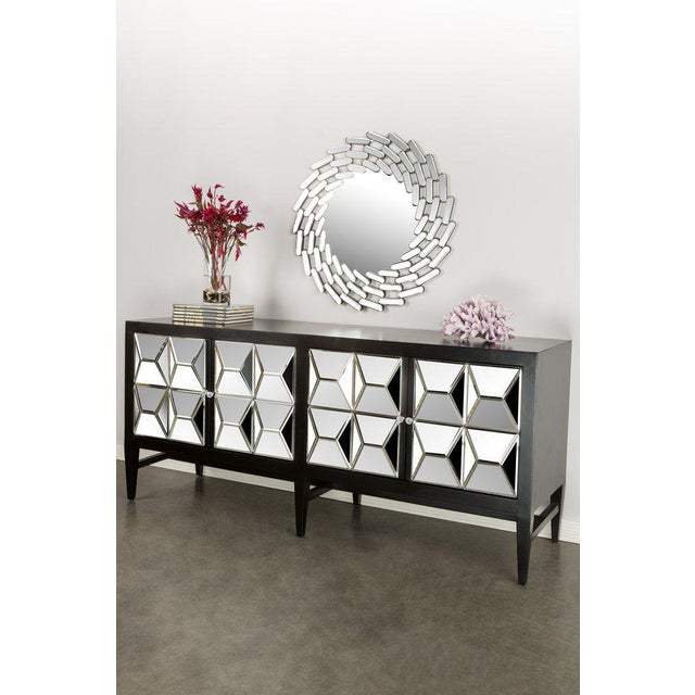 New 4 doors mirrored sideboard. There are 2 cabinet space inside, each has a shelf in the middle. In the style of...