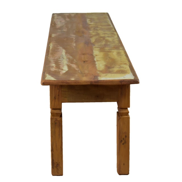 Art Deco Reclaimed Wood Dining Bench For Sale - Image 3 of 5