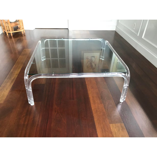 Vintage Mid Century Modern Lucite and Glass Dorothy Thorpe Style Square Coffee Table For Sale - Image 12 of 12