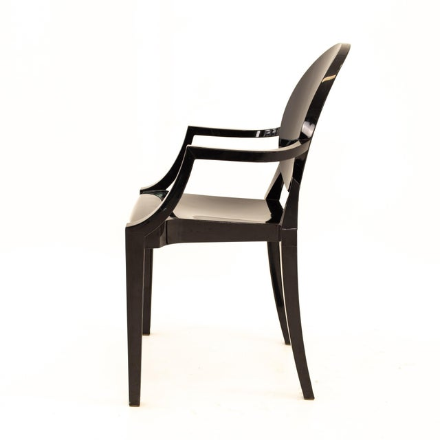Black Kartell Mid Century Black Acrylic Ghost Dining Chairs - Set of 4 For Sale - Image 8 of 11