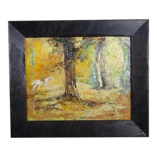 """Circa 1950s """"Enchanted Forest"""" Landscape Oil Painting by Mary Anna Lehman, Framed For Sale"""