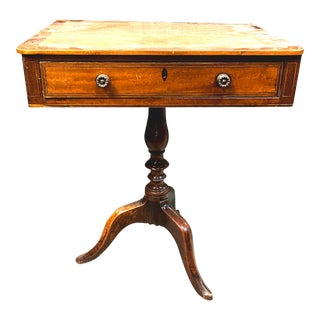 George III Mahogany Inlaid Occasional Side Table With Drawer For Sale