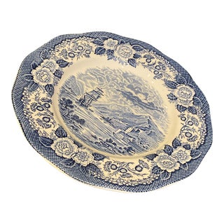 "Vintage Royal Warwick China Lochs of Scotland Blue and White 10"" Dinner Plate or Decorative Plate For Sale"