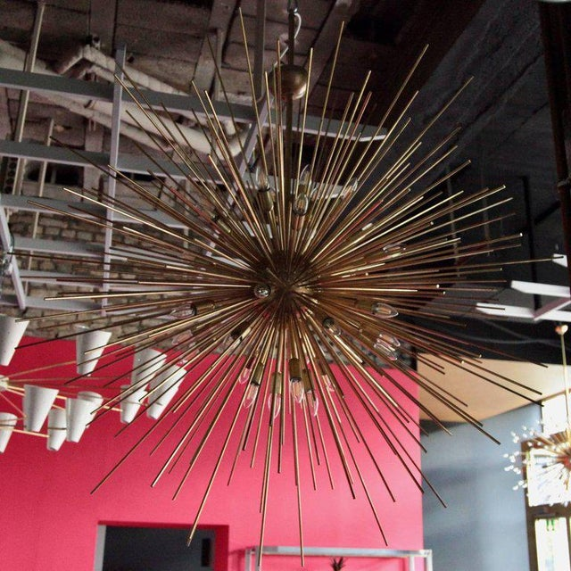 Italian Monumental Brass Sputnik or Urchin Chandelier For Sale - Image 3 of 6