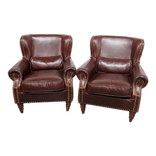 Vintage Leather Club Chairs- A Pair For Sale