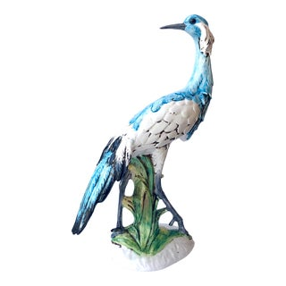 Vintage Italian Blue and White Ceramic Crane For Sale