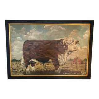 Hereford Bull ~ Oil on Canvas For Sale