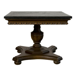 Mid-Century Black Slate Top Carved Side Table