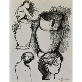 """Sketches of Boys and Water Pitcher"" Drawing Study"