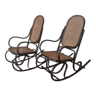 Bentwood Rocking Chairs with Cane Seat and Back - A Pair For Sale