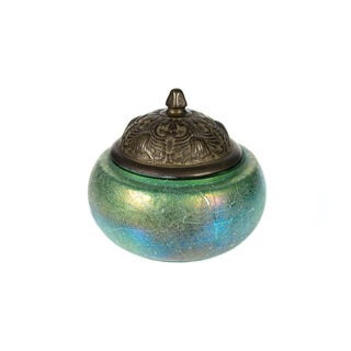 Early 20th-C. Iridescent Glass & Bronze Jar Preview