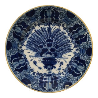 Antique Delft Peacock Plate Circa 1750 Blue & White For Sale