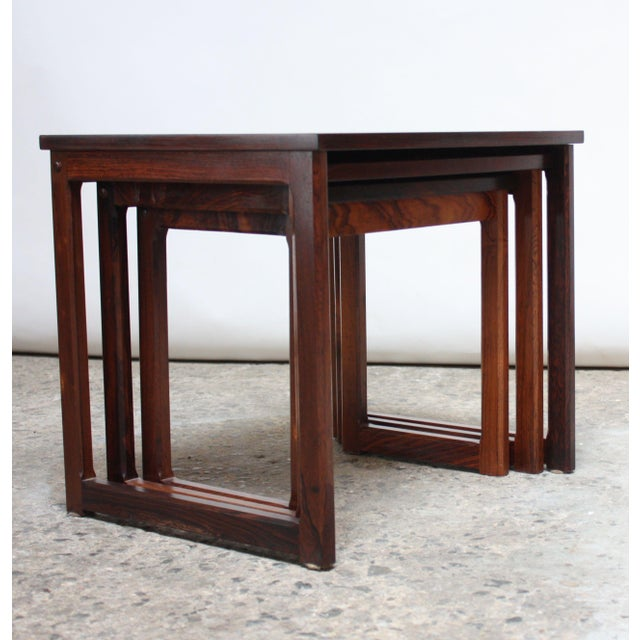 Trio of Danish Rosewood Nesting Tables For Sale - Image 9 of 9