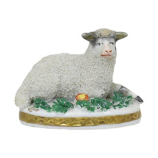 Antique French Paris Porcelain Lamb For Sale