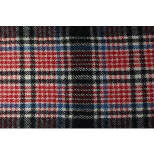 1970s Vintage Fringed Plaid Wool Camp Blanket For Sale - Image 4 of 6