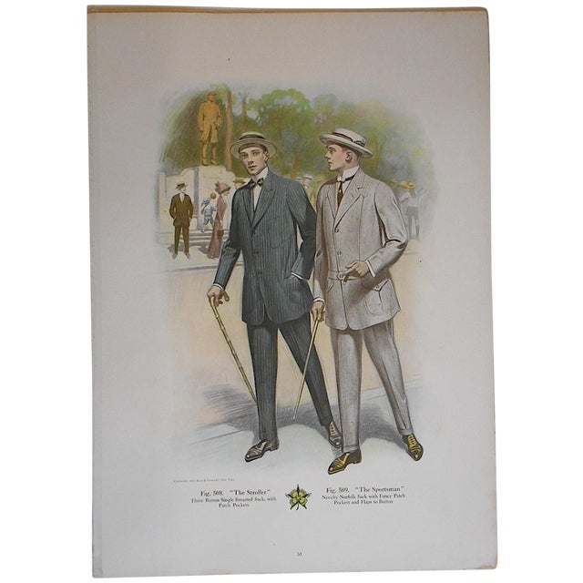 """Antique """"Well Dressed Men"""" Lithograph - Image 1 of 3"""