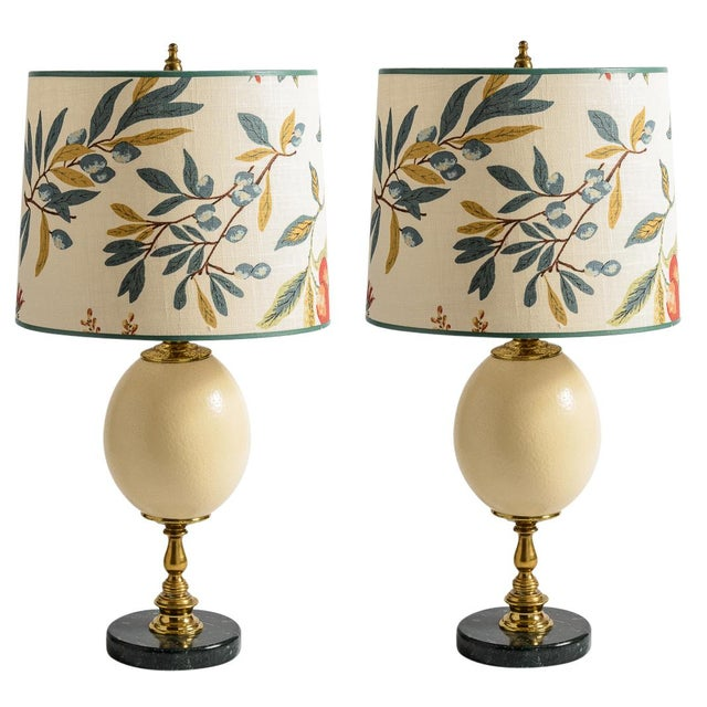 Antique French Ostrich Egg Table Lamps With Brass & Marble Base, A-Pair For Sale - Image 13 of 13