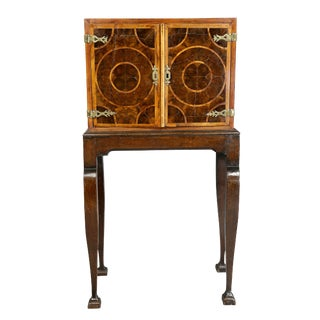 William and Mary Oyster Veneer Cabinet on Stand For Sale