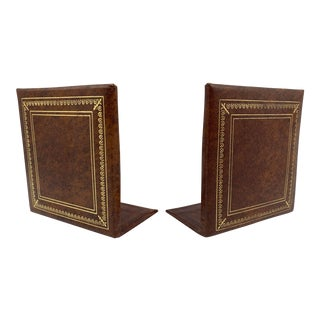 Italian Leather Bookends with Gold Embossed Border, 1960s - a Pair For Sale