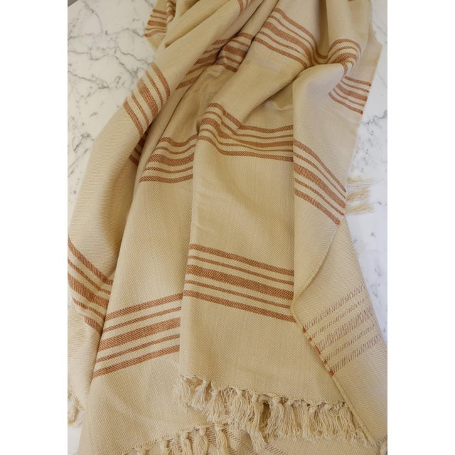 Textile Turkish Hand Made Bed Coverlet With Natural Linen/Cotton,70x96 Inches For Sale - Image 7 of 8
