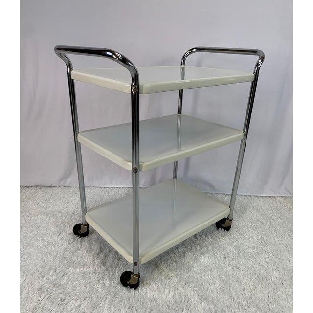 Mid-Century Modern Three-Tier Enameled Metal Serving Cart by Cosco Hamilton For Sale - Image 11 of 11
