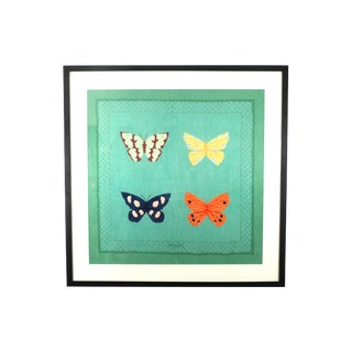 Vintage Framed Bvlgari Silk Butterfly Scarf For Sale