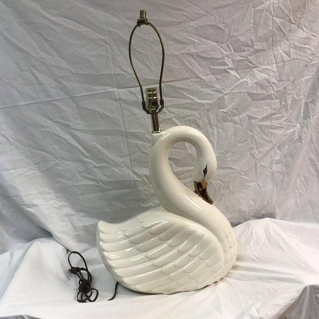 Large Vintage White Porcelain Swan Lamp - Image 2 of 11
