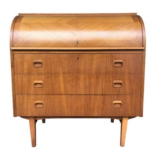 1960s Danish Modern Teak Rolltop Desk For Sale