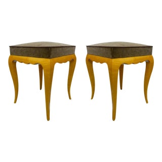 Rene Prou Pair of Refined Sycamore Stools For Sale