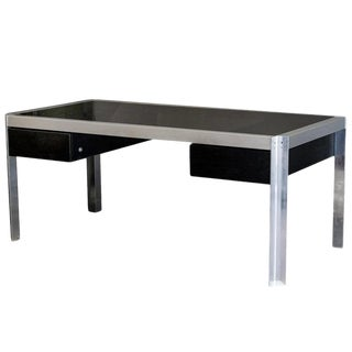 Smoked Glass and Aluminum Executive Desk, Italy, 1970s For Sale
