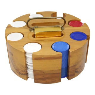 Vintage Burlwood Poker Chips and Cards Carousel Caddy For Sale
