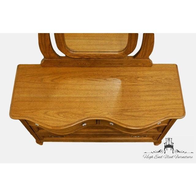 Late 20th Century Pulaski Furniture Keepsakes Collection Oak Dresser & Wishbone Mirror For Sale - Image 5 of 13